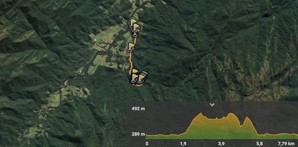 mapa com trajeto da trilha da cachoeira do rio vermelho